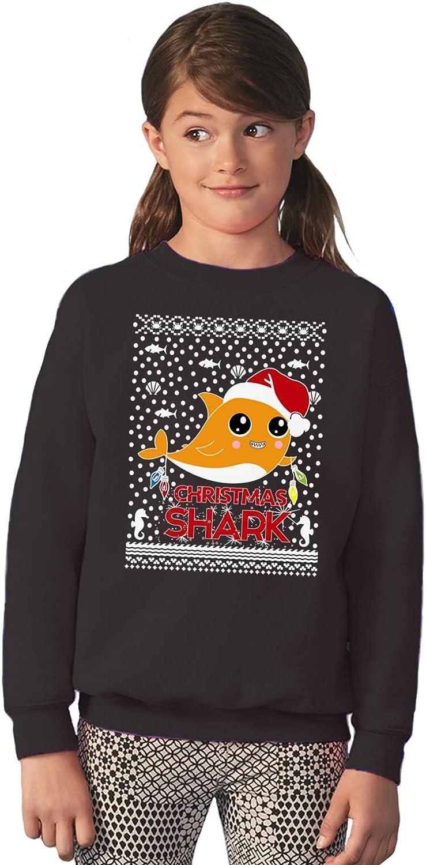 Vizor Funny Ugly Xmas Party Sweater for Boys Girls Kids Youth Orange Christmas Shark Sweatshirt