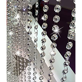 for Party Wedding Decoration 30mm Fushing 2 Pcs 1ft Chandelier Crystal Beads Strands Hanging Glass Ball Prisms Pendants Parts for Chandelier Curtain Lamp Window