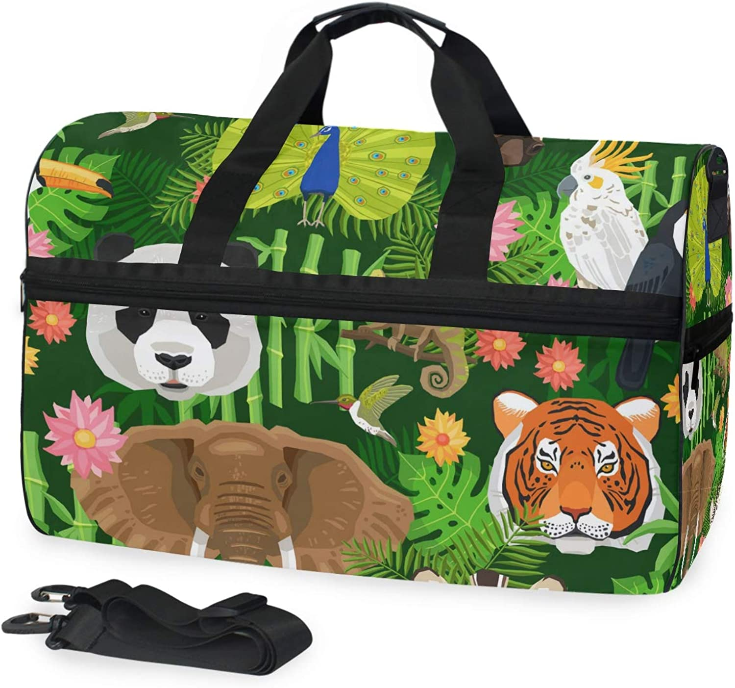 4870b3738323ab FANTAZIO Animals Peacock Tiger Elepant Parred Duffle Bag Gym Bag Travel  Duffel with Adjustable Strap Panda Sports nnnupx2781-Sporting goods