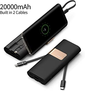 iWALK 20000mAh Power Bank Quick Charge QC3.0/2.0 Built-in Type-C & Micro USB Cables, Portable Charger External Battery Pack Compatible with iPhone Xs Max X 8 7 6 Plus, Samsung S9/S8 and More (Black)