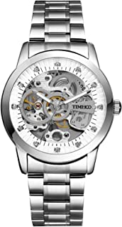 Time100 Men Wrist Watches Classic Business Steel Automatic Skeleton Watch for Men