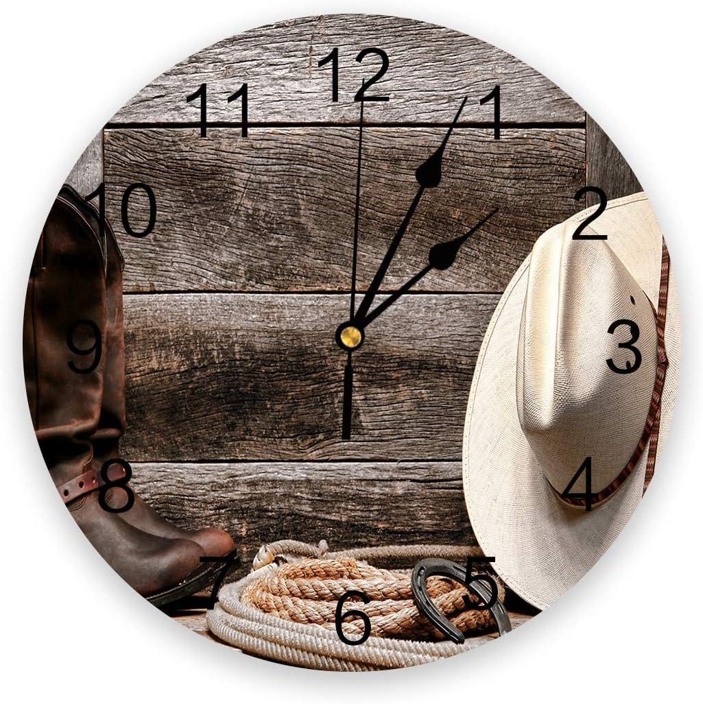 30cm Western Cowboy Ranking TOP8 Style Wall Clock Design Living Modern Home Long Beach Mall R