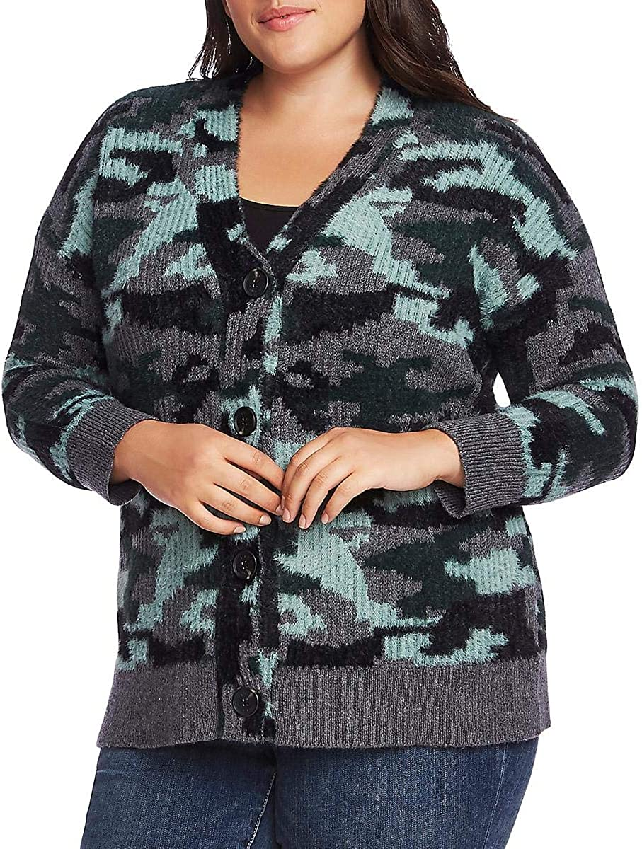 Vince Camuto Womens Plus Umbra Forest Camouflage Cardigan Sweater Gray 1X
