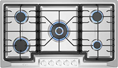 Empava EMPV-36GC23 36 Inch Stainless Steel Gas Cooktop Professional 5 Italy Sabaf Burners..