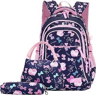 Rucksack Mädchen, Schultaschen Set 3 Teile Set Schulrucksack mit Lunch-Taschen Federmäppchen Bedruckte Lässige Tagesrucksä...
