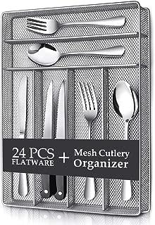 Teivio 24 Piece Silverware Set, Flatware Utensils Set Mirror Polished, Dishwasher Safe Service for 4, Include Knife/Fork/Spoon/Steak Knife/Wire Mesh Steel Cutlery Holder Storage Trays (Silver tray)