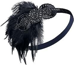 VIJIV Vintage Black Silver Headpiece Flapper Headband 1920s