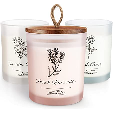 Candles for Home Scented, 3 Pack Scented Candles Lavender Rose Jasmine Bouquet Soy Candle 30-35 Hours Long Lasting Soy Candles Aromatherapy Candles Gifts for Women Home Use, 6.4 Oz