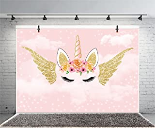 Yeele 9x6ft Cute Unicorn Photo Backdrop Vinyl Golden Wings Birthday Party Photography Background Baby Shower Banner Kid Infant Child Girl Artistic Portrait Photo Booth Shoot Studio Props