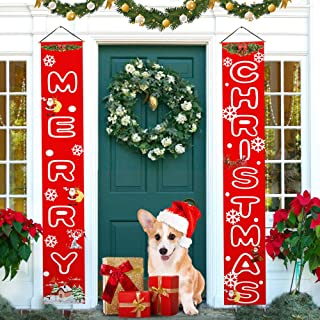 Merry Christmas Banners Front Door Merry Christmas Porch Sign Outdoor Indoor Red Xmas Hanging Decorations for Home Wall Holiday Party Décor Style 1