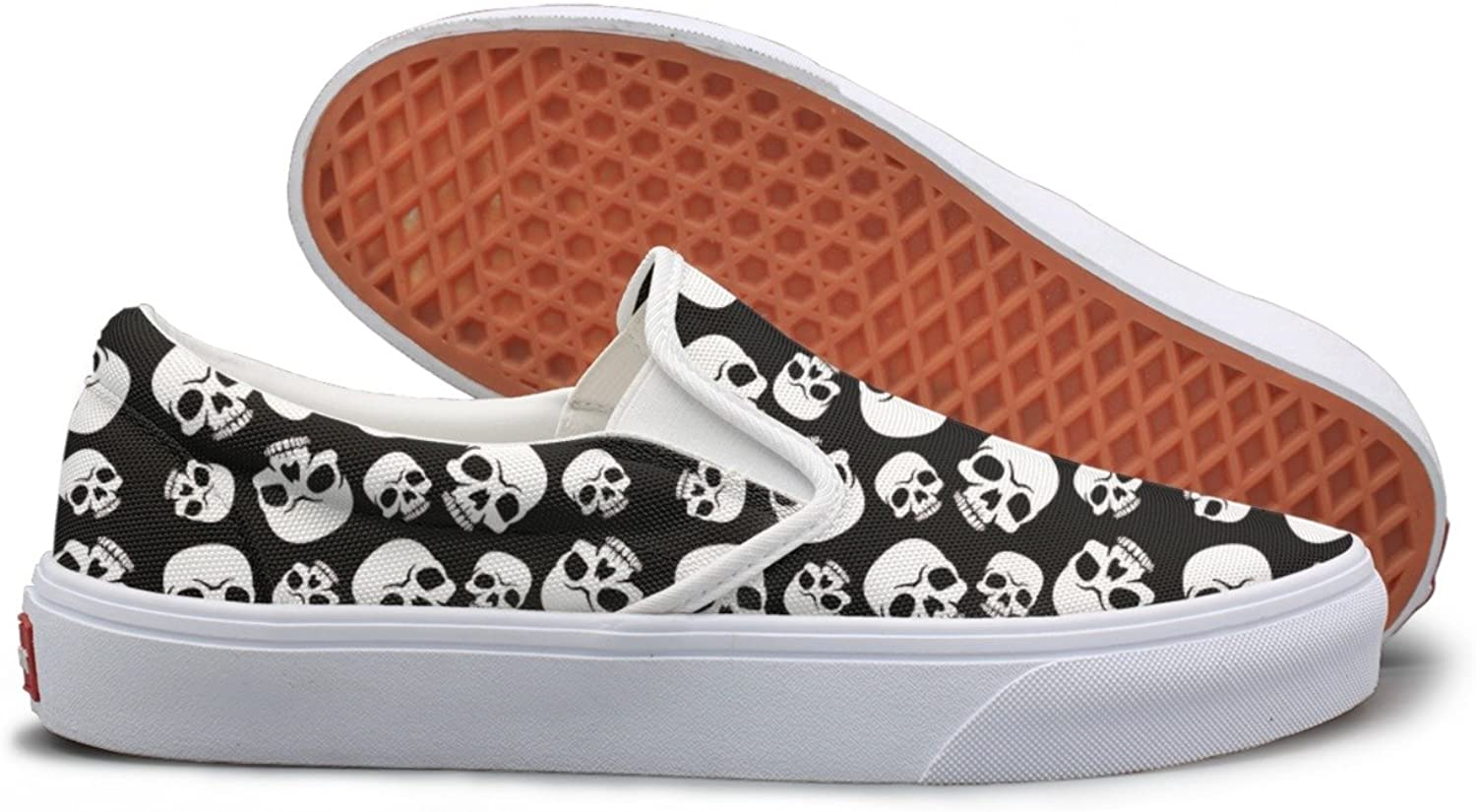 Skull Happy Halloween Womens Slip On Canvas shoes
