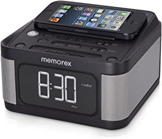Memorex Alarm Clock Jumbo 1.2' LCD Display Full-Range speakers with FM radio with Dual 2x USB Charging + Aux line-in connection (Renewed)
