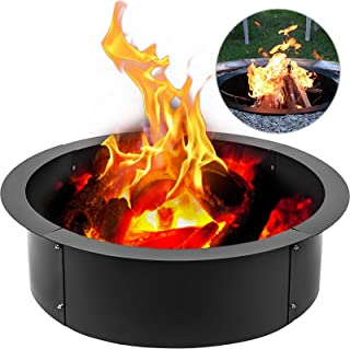VEVOR Fire Pit Ring 45 Inch Outside Outdoor 39 Inch Inside Solid Steel 3.0mm Thick DIY Campfire Above or In-Ground, Normal