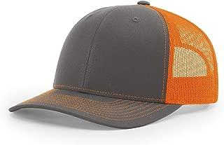 Twill Mesh Back Trucker Snapback Hat -- Charcoal/Orange