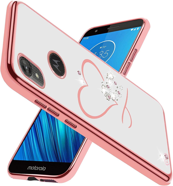 Flying Flier for Moto E6 Case Moto E6 Phone Case Bling Crystal Rhinestone Slim TPU Glitter Cover Shockproof Electroplate Bumper Protective Case Cover for Motorola Moto E6 (Rose Gold)