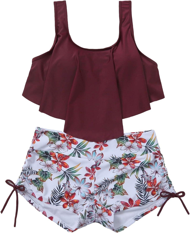 MakeMeChic Women's High Waisted Swimsuit Flounce Swimwear Two Piece Bikini Set