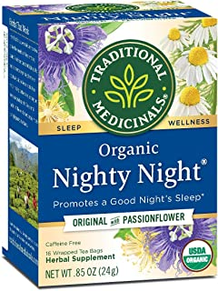 Traditional Medicinals Organic Fair Trade Certified Nighty Night Herbal Tea, 16-Count Wrapped Tea Bags (Pack of 6) ( Value...