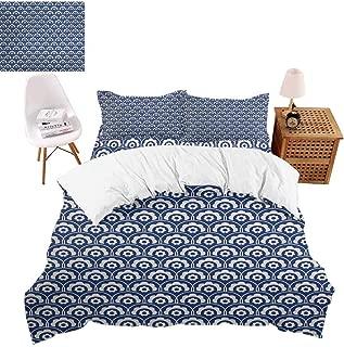 vroselv-home 4 Piece Bedding Set, Fish Scale Floral Motif Duvet Cover Set Quilt Bedspread for Childrens/Kids/Teens/Adults - California King Size/NO Comforter