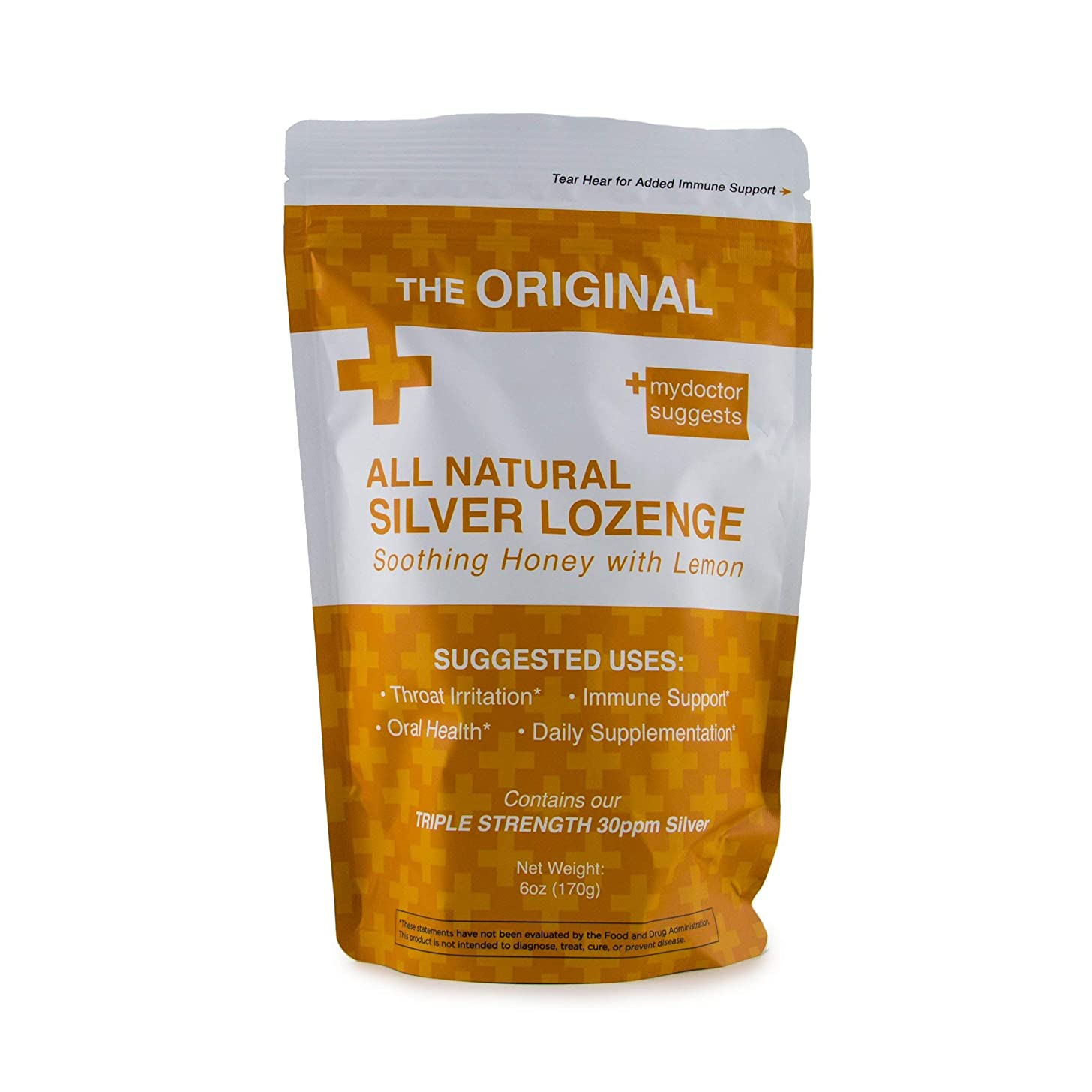 Natural Silver Lozenges - Soothing Honey with Lemon: The Perfect Cough Drop for Cough, Throat & Mouth Health - 30ppm Silver Solution in Each Drop
