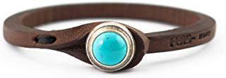 Genuine Italian Leather Bracelet in Multiple Color Combinations | Stone Closure | Handcrafted in Italy (Ginger)