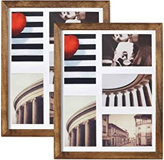 Emfogo 11x14 Picture Frame - Rustic Solid Wood and Real Glass Collage Picture Frame Display Five 4x6 with Mat or 11x14 Pho...