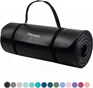 """Retrospec Solana Yoga Mat 1"""" w/ Nylon Strap for Men & Women – Non Slip.."""