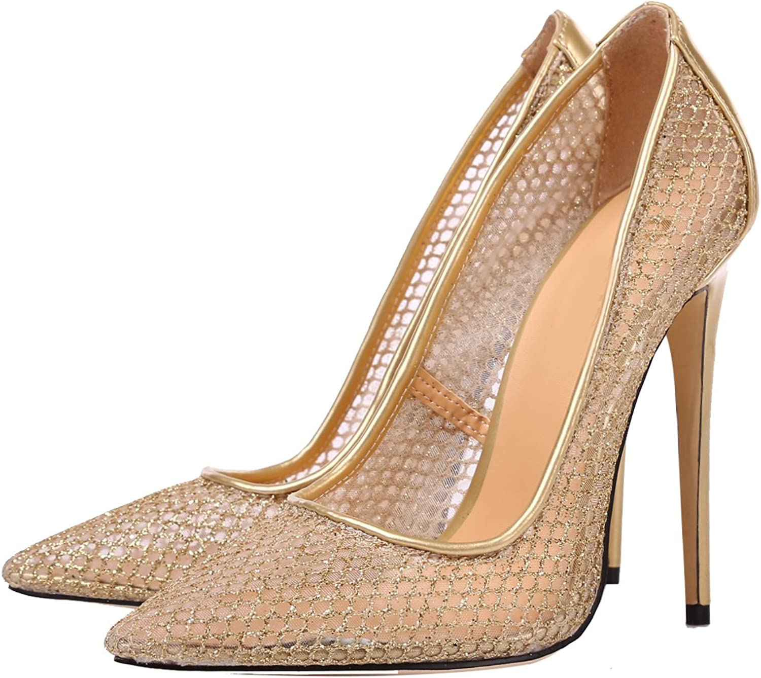 Themost Womens Sexy Lace Closed Toe Dress Pumps Basic Slim High Heel shoes 4.7inches