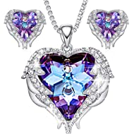 CDE Jewelry Set for Women Angel Wing Swarovski Crystal Pendant Necklace Heart of Ocean Stud...