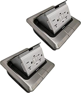 Pop Up Floor Box Countertop Box 20A GFCI with Duplex Receptacle - Stainless Steel Finish (2 Pack)