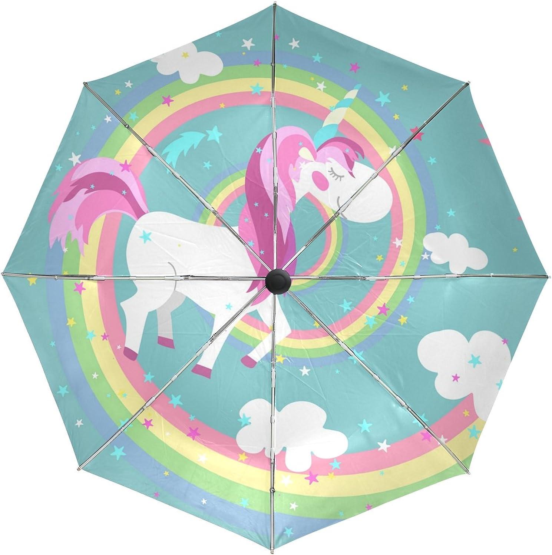 MASSIKOA Unicorn On colord Rainbow Windproof Foldable Rain Travel Canopy Umbrella Auto Open Close Button
