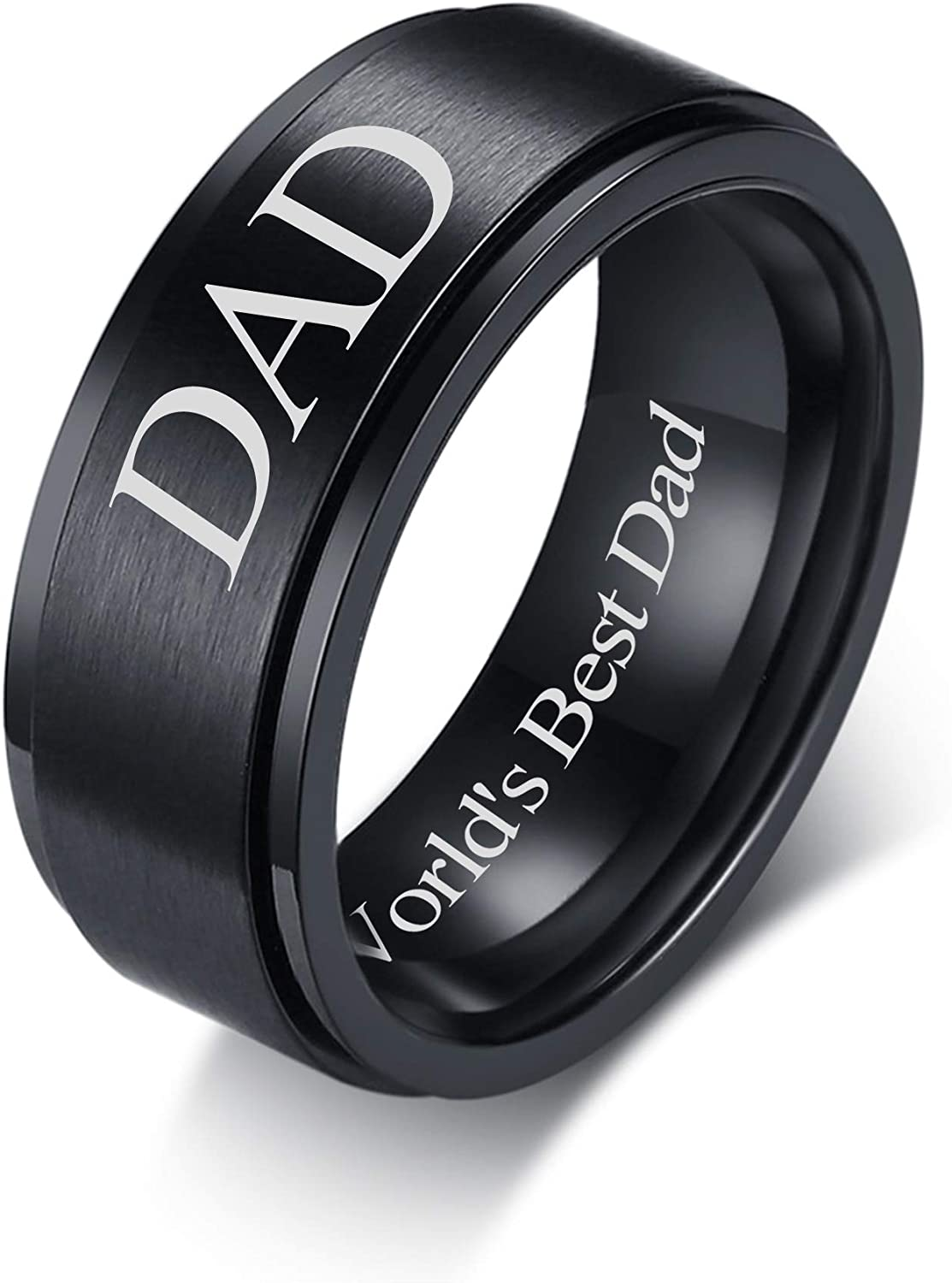 VNOX 8mm Stainless Steel Daddy World's B Engraved Matte ! Super beauty product restock quality top! Best Dad Superior