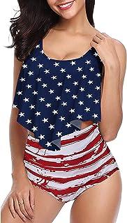 Best Women High Waisted Swimsuit Flounce Swimwear Racerback Vintage Two Piece Bikini Reviews