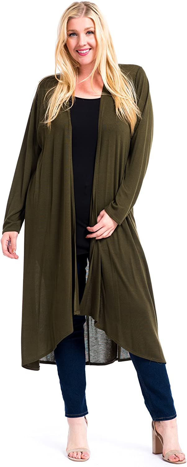 12 Ami Plus Size Basic Knit Solid Long Sleeve Maxi Cardigan - Made in USA