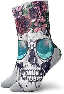 Human Skull Flower Wreath Round Blue Cushioned Athletic Crew Socks for Sports