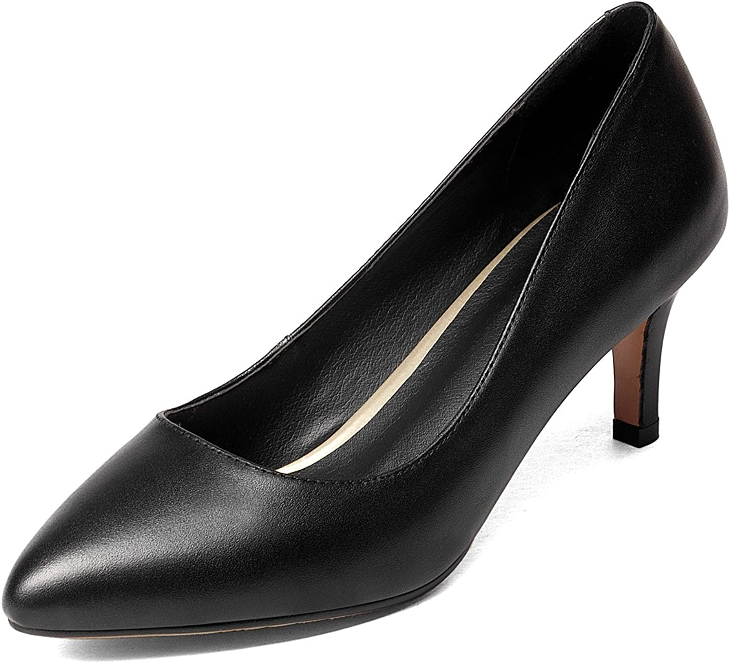 DoraTasia Women's Mid Heels for Women Classic Slip on Pointed Toes Pumps shoes