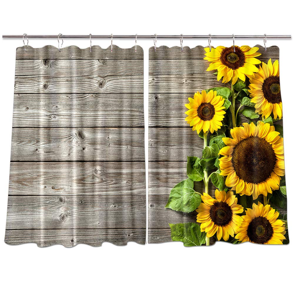 Amazon Com Nymb Sunflower On Wooden Kitchen Window Curtains Spring Flower Rustic Country Wood Panels Decorations Drapes Treatment Sets With Hooks 55x39inches Home