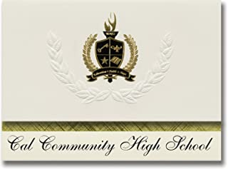 Signature Announcements Cal Community High School (Latimer, IA) Graduation Announcements, Presidential Style, Basic Package of 25 with Gold & Black Metallic Foil Seal
