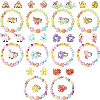 Hifot Enfants Fille bagues Boucles d'oreilles Clip Bracelet 30 pièces, Licorne sirène Papillon Fleurs Arc-en-Ciel Princess...
