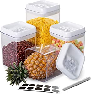 Wookon Airtight Food Storage Container Set With Easy Lock Improved Lids, Easier To Take And Put With Larger opening,Kitchen & Pantry Organization 4 Pieces BPA Free Plastic for Dry Foods & Liquids,Include10 Free Chalkboard Labels and 1 Marker