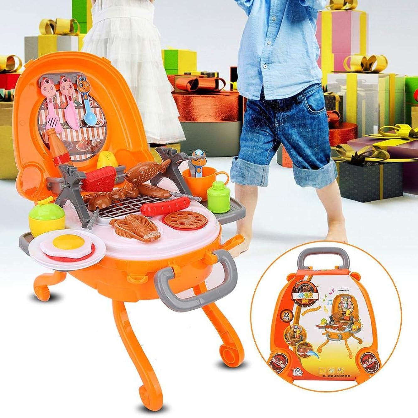 してはいけませんちょっと待って校長プラスチック製のバーベキューおもちゃ、ポータブルクッキングプレイセット耐久性のあるロールプレイングおもちゃ、幼児向け