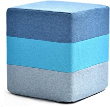 Yxsdd Footstool Pouffe Change Shoes Ottoman Makeup Stool Removable Linen Cover Living Room Bedroom Five Colour (Color : Blue)