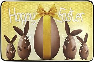 JSTEL Nonslip Door Mat Home Decor, Happy Easter Chocolate Egg Durable Indoor Outdoor Entrance Doormat 23.6 X 15.7 Inches