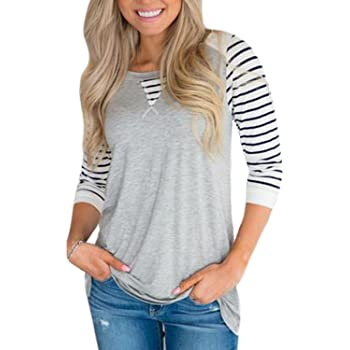 Chvity Womens Long Sleeve Knit Top Crew Neck Striped Pullover Sweater