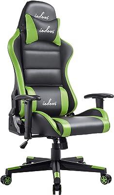 IODOOS ゲーミングチェア 通気性抜群 gaming chair ゲーム用チェア ゲームチェア オフィスチェア パソコンチェア 腰痛対策 デスクチェア 180度リクライニング ハイバックチェア 耐荷重120KG PUレザー グリーン 65CAA