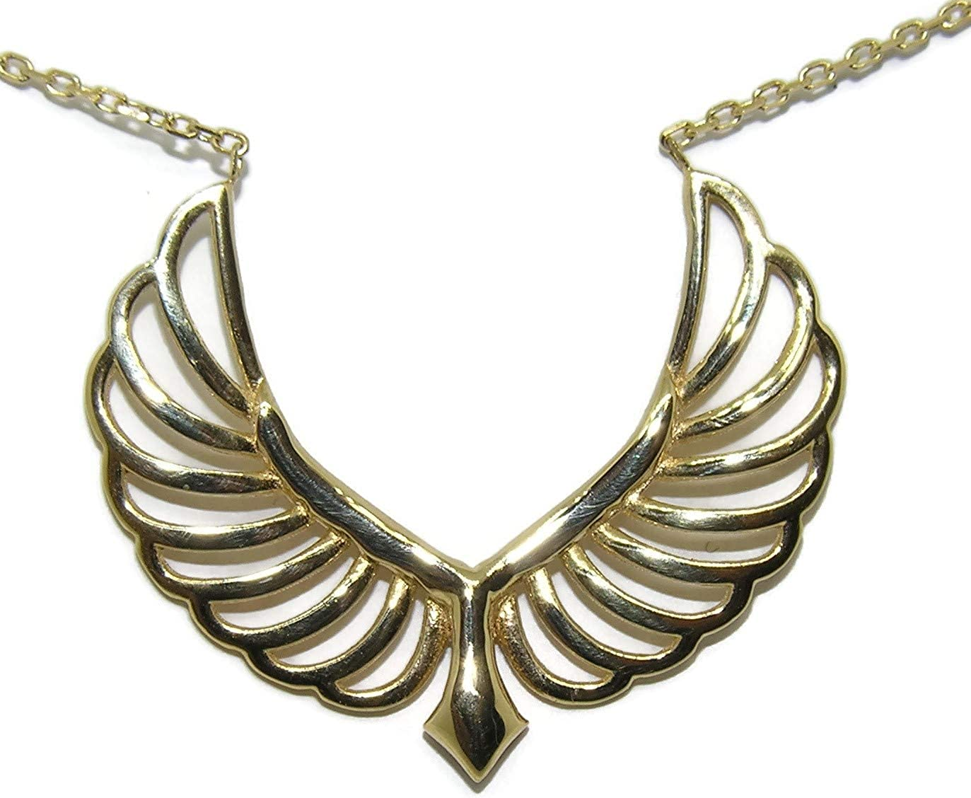 18K Gold Angel Wings Fees free!! Necklace for Seattle Mall of Light Pe Women Luck