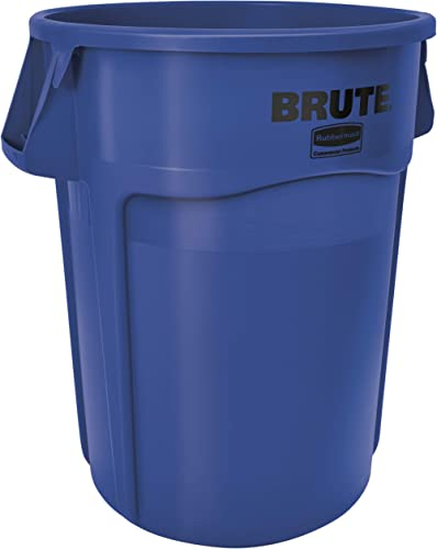 Rubbermaid Commercial Products BRUTE Heavy-Duty Round Trash/Garbage Can with Venting Channels - 44 Gallon - Blue (Pac...