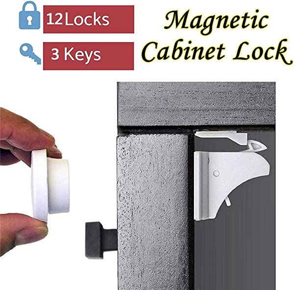 Panzisun 12pcs Magnetic Child Safety Locks Baby Proof Cabinet Door Lock For Secures Drawers Appliances Toilet Seats Kids Protection 3 Keys