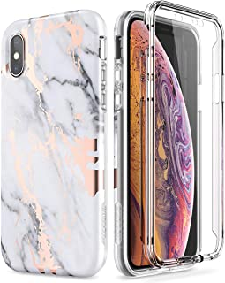 SURITCH Marble iPhone Xs Case/iPhone X Case, [Built-in Screen Protector] Full-Body Protection Hard PC Bumper + Glossy Soft TPU Rubber Gel Shockproof Cover Compatible with Apple X/Xs-White/Gold