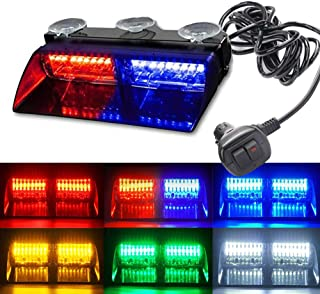 Bullshark 18 Modes 16 LED High Intensity For Interior Roof/Dash/Windshield With Suction Cups LED Law Enforcement Emergency Hazard Warning Strobe Lights RGB