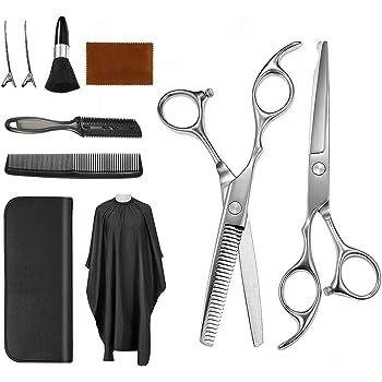 Vtrem 9 Pcs Hair Scissors Set Professional Hairdressing Scissors Kit Stainless Steel Hair Cutting Scissors, Thinning Shears, Barber Cape, Neck Duster Brush, Hair Razor Comb, Clips for Adults Kid Pet